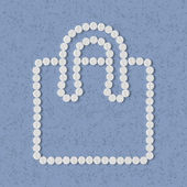 Концепция таблетки: покупки, сумка, пакет — Cтоковый вектор