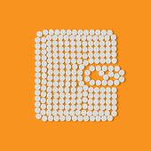 Pills concept: purse, money — Vector de stock