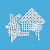 Pills concept: house, building, speech, bubble — Vector de stock