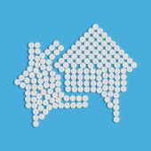 Hapları kavramı: bina, house, konuşma balonu — Stok Vektör