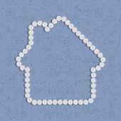 Prášky koncept: domů, dům, stavba — Stock vektor