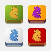 App concept: cock, vogel, landbouw — Stockvector