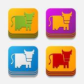 App kavramı: inek, tarım — Stok Vektör