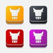 App concept: cow, agriculture — Stok Vektör