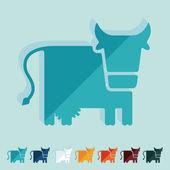 Flat design, cow, livestock, farm — Stock Vector