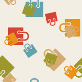 Seamless background, shopping, bag, package — Stockvector