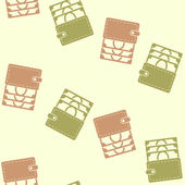 Seamless background, purse, money — Stock Vector