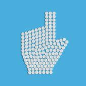 Pills concept, cursor, hand — Stock Vector