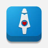 Square button: pregnant — Stock Vector