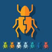 Diseño plano: escarabajo — Vector de stock