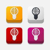 Square button: lightbulb — Stock Vector