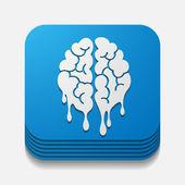 Square button: brain — Stock Vector