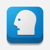 Square button: head — Stock Vector