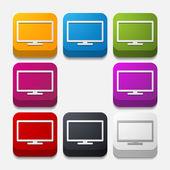 Square button: monitor — Stock Vector