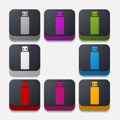 Square button: usb — Stock Vector