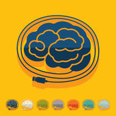 Flat design: brain — Stock Vector