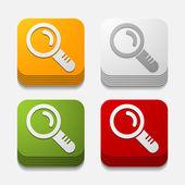 Square button: magnifier — Stock Vector