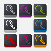квадратная кнопка: лупа — Cтоковый вектор
