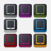 Square button: smartphone — Stok Vektör