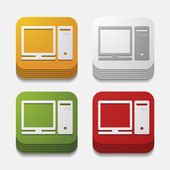 Square button: computer — Stock Vector