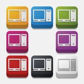 Square button: computer — Stok Vektör