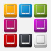 Square button: smartphone — Stock Vector