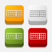 Square button: keyboard — Stock Vector