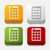 Square button: calculator — Stock Vector