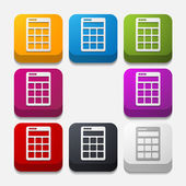 Square button: calculator — Vettoriale Stock