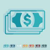 Diseño plano: dinero — Vector de stock