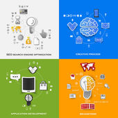 Set of modern stickers. Concept of search engine optimization, creative process, application development, brainstorm. Vector eps10 illustration — Vector de stock
