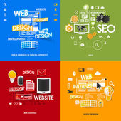 Set of modern stickers. Concept of web design & development, seo, branding, web design. Vector eps10 illustration — Wektor stockowy