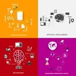 conjunto de adesivos modernos. conceito de marketing móvel, inteligência artificial, brainstorm, comunicação empresarial. ilustração em vetor eps10 — Vetor de Stock  #45432113