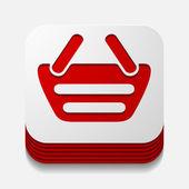 Square button: basket — Stock Vector