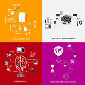 Set of modern stickers. Concept of mobile marketing, artificial intelligence, brainstorm, business communications. Vector eps10 illustration — Stock vektor