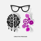 Set of sticker design. Creative process — Cтоковый вектор
