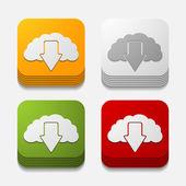Square button: cloud — Stock Vector