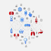 DNA helix with medical icons — ストックベクタ