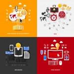 Set of modern stickers. Concept of web design & development, seo, branding, web design. Vector eps10 illustration — Stock Vector #45445281