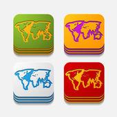 Square button: map — Stock Vector