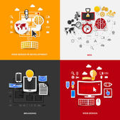 Set of modern stickers. Concept of web design & development, seo, branding, web design. Vector eps10 illustration — Vettoriale Stock
