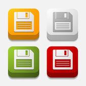 Pulsante quadrato: floppy — Vettoriale Stock