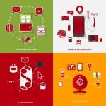 Set of modern stickers. Concept of payment methods, mobile technology, partnership, online talks. Vector eps10 illustration — Stock Vector