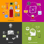 Set of modern stickers. Concept of technology, teamwork, business, creative process. Vector eps10 illustration — Vecteur