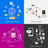 Set of modern stickers. Concept of artificial intelligence, digital marketing, analytics, mobile technology. Vector eps10 illustration — Stock Vector