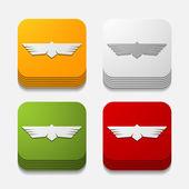 Square button: bird — Stock Vector