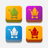 四角形のボタン: ショッピング — ストックベクタ