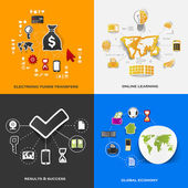 Set of modern stickers. Concept of electronic funds transfers, online learning, results & success, global economy. Vector eps10 illustration — Vecteur