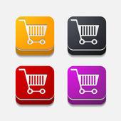 Square button: trolley — Stock Vector