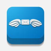 Square button: envelope — Stock Vector